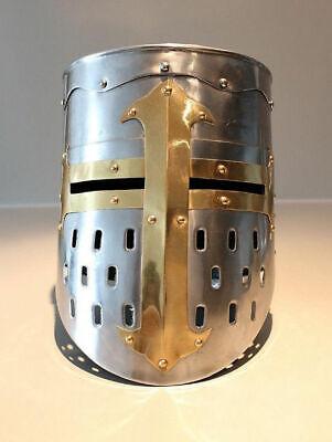 Medieval Knight Templar Wearable Metal Crusader Helmet Armor w// mason/'s cross