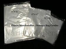 "60 CLEAR PLASTIC MERCHANDISE / STORAGE BAG VARIETY PACK  8""x10"" 9""x12"" 11""x15"""
