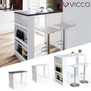 Vicco Table De Bar Mange Debout Cuisine Avec Rangements 2 Couleurs