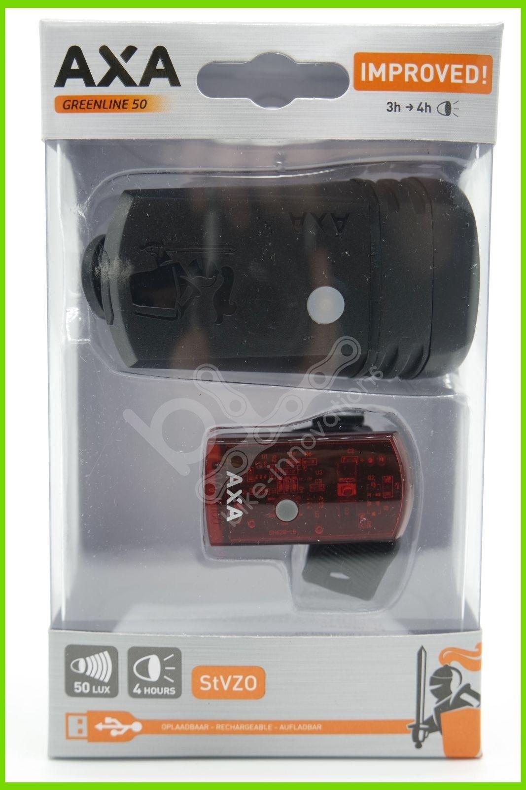 AXA GrünLINE 50 LUX Fahrrad USB Akku Beleuchtungsset USB Fahrrad StVZO zugelassen LED 79c636