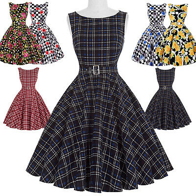 VINTAGE STYLE Retro A-LINE Swing 50s 60s Pinup Housewife Party Dress