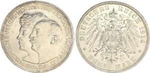 Empire Anhalt 3 Mark Silver 1914 A Friedrich Ii.marie Xf-Bu (43841)