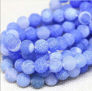 Natural 8mm Round Light BLUE Dragon veins Agate Gems Loose Beads 15/""