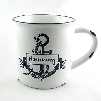 "im Emaille-Look Shabby Chic Anker blau Kaffeebecher /""Rusty/"" Hamburg"