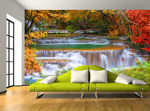 Colours trees waterfall rocks nature wall mural photo for 8 sheet giant wall mural