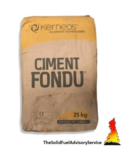 FIRE CEMENT 3 BAGS OF CIMENT FONDU 25KG STOVE- FURNACE- PIZZA OVEN KILN
