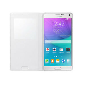 brand new a557d d17c4 Details about Galaxy Note 4 Case S-View Flip Cover Folio Case White Window  Access Phone Swipe