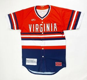 Rawlings Virginia Cavaliers Salkeld SS Baseball Jersey Men's Large Orange Navy