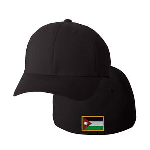 Image is loading JORDAN-FLAG-Embroidery-Embroidered-Black-Cotton-Flexfit -Hat- 09f7dc0b6f1
