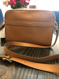 Furla-Avril-Crossbody-Bag-Purse-Tan-Color-Pebbled-Leather-New-With-Tags-FreeShip