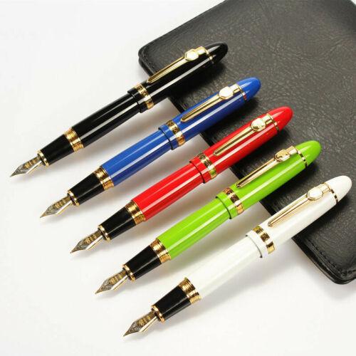 Jinhao 159 Black Metal Golden Clip Fountain Pen F Nib 0.5mm Converter Writing #1