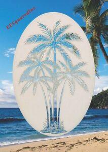 New 21x33 Oval PALM TREE WINDOW CLING Vinyl Glass Decals - Tropical Door Decor