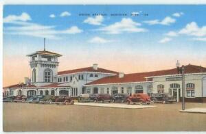 Meridian-Miss-MS-Union-Railroad-Station-amp-Cars-039-40s-Linen-Antique-Postcard-26245