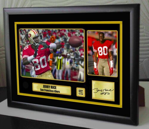 Jerry Rice San Francisco 49ers Framed Canvas Portrait Signed Great Gift