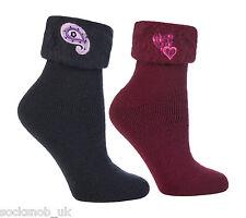 2 paia di stivali caldi SOFFICI Letto Di Lusso Calzini, Blu Navy / Borgogna 4-8 Uk, 37-42 EU