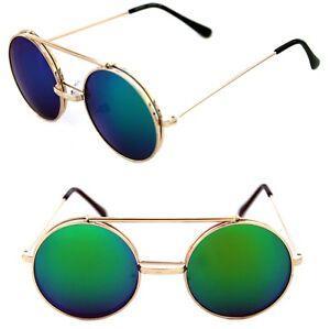 9fd32455dd Men s Women s Round Shape Flip up Django Metal Gold Sunglasses Blue ...