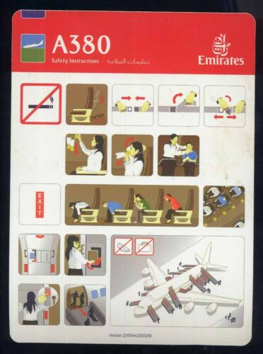 EMIRATES emirati airlines A 380 SAFETY CARD airline memorabilia brochure ee e227