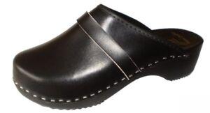 034-MaRited-034-Sabot-en-cuir-veritable-noir-Sabots-style-suedois-Femme-homme