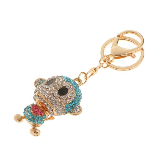 Bling Blue Crystal Monkey Keyring Charm Handbag Pendant Novelty Key Chain