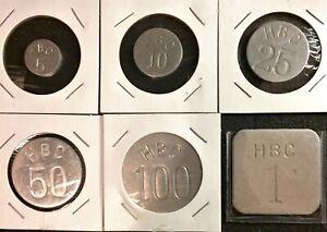 Canada Hudson's Bay Company HBC Aluminum Merchant Token 6Pcs Set.