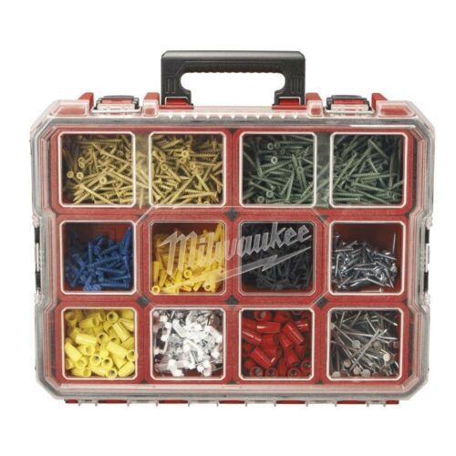 10 Compartment Organizer Small Parts Container Red Deep Side Clips 18.11x14.17