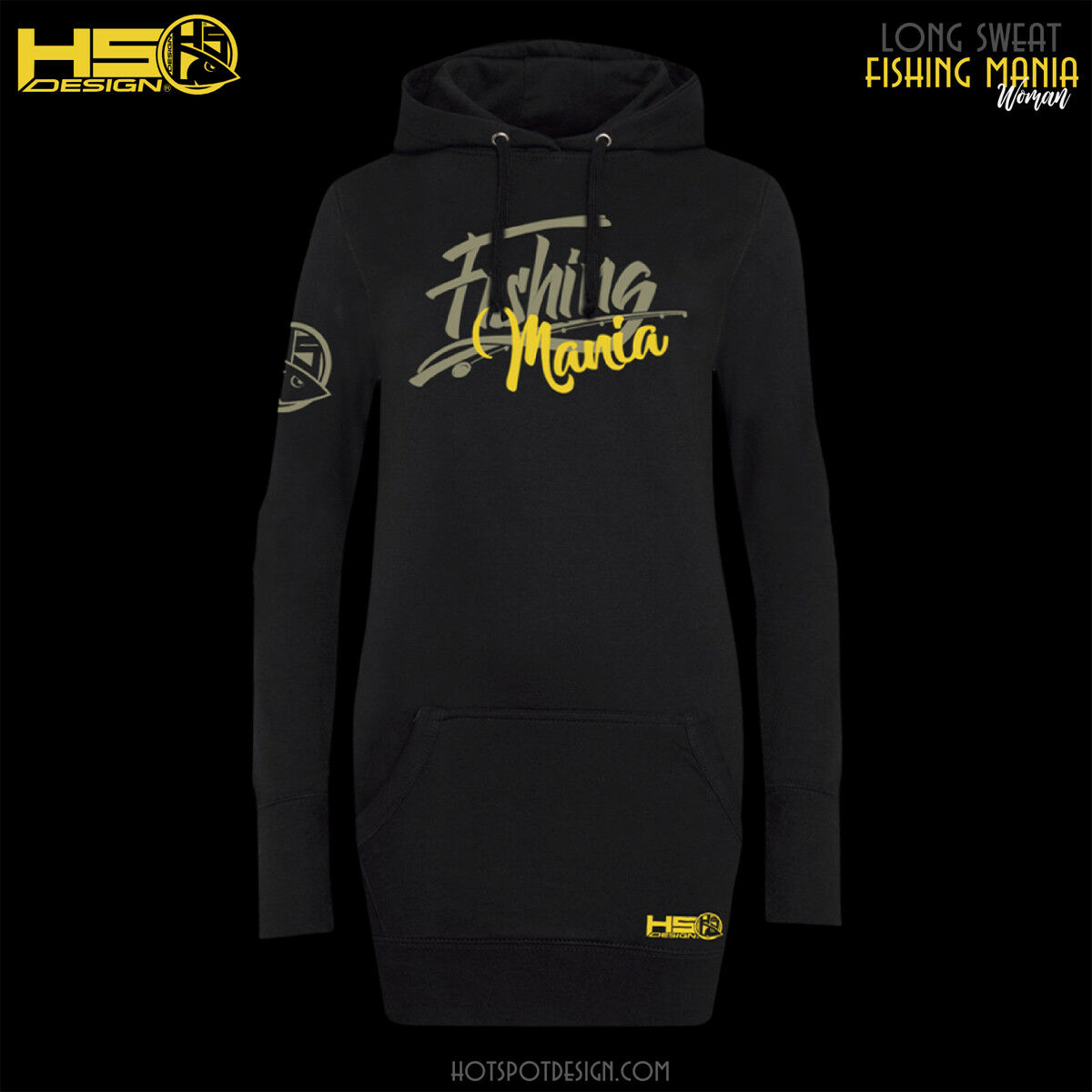 Hotspot Design Long Hoodie fishing Mania mujer, mujer, mujer, Long Sweater 786663