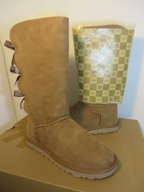 d76d2c49147 UGG Australia Bailey Bow Tall Womens Boot Chestnut Brown Size 6 1007308