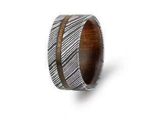 Hand-Made-Damascus-Steel-Wood-Inlay-amp-Sleeves-Ring-With-Gift-Box