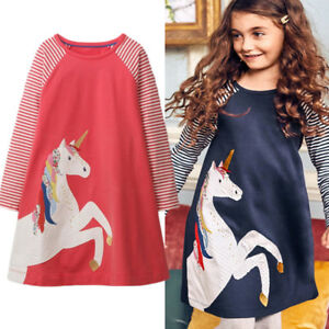 Cute-Unicorn-Toddler-Kids-Baby-Girls-Party-Stripes-Long-Sleeve-Dress-Clothes-US