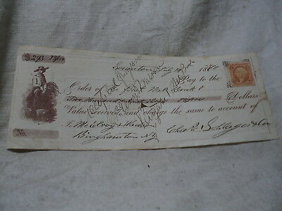 1878 First National Bank State of Indiana Bank Check Revenue Stamp Blue Paper