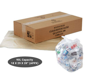 Clear Refuse Sacks Medium or Heavy Duty Bin Bags Rubbish Scrap / Waste Recycling