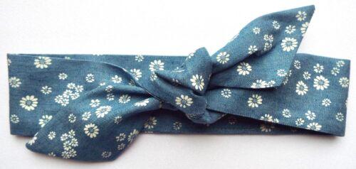 Jean bleu blanc marguerites bandeau cheveux Wrap Bandana Self Cravate cheveux Serre-tête Noeud