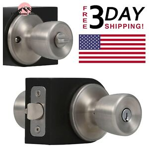 Keyed Entry Door Knob Stainless Steel Temporary Garage ...