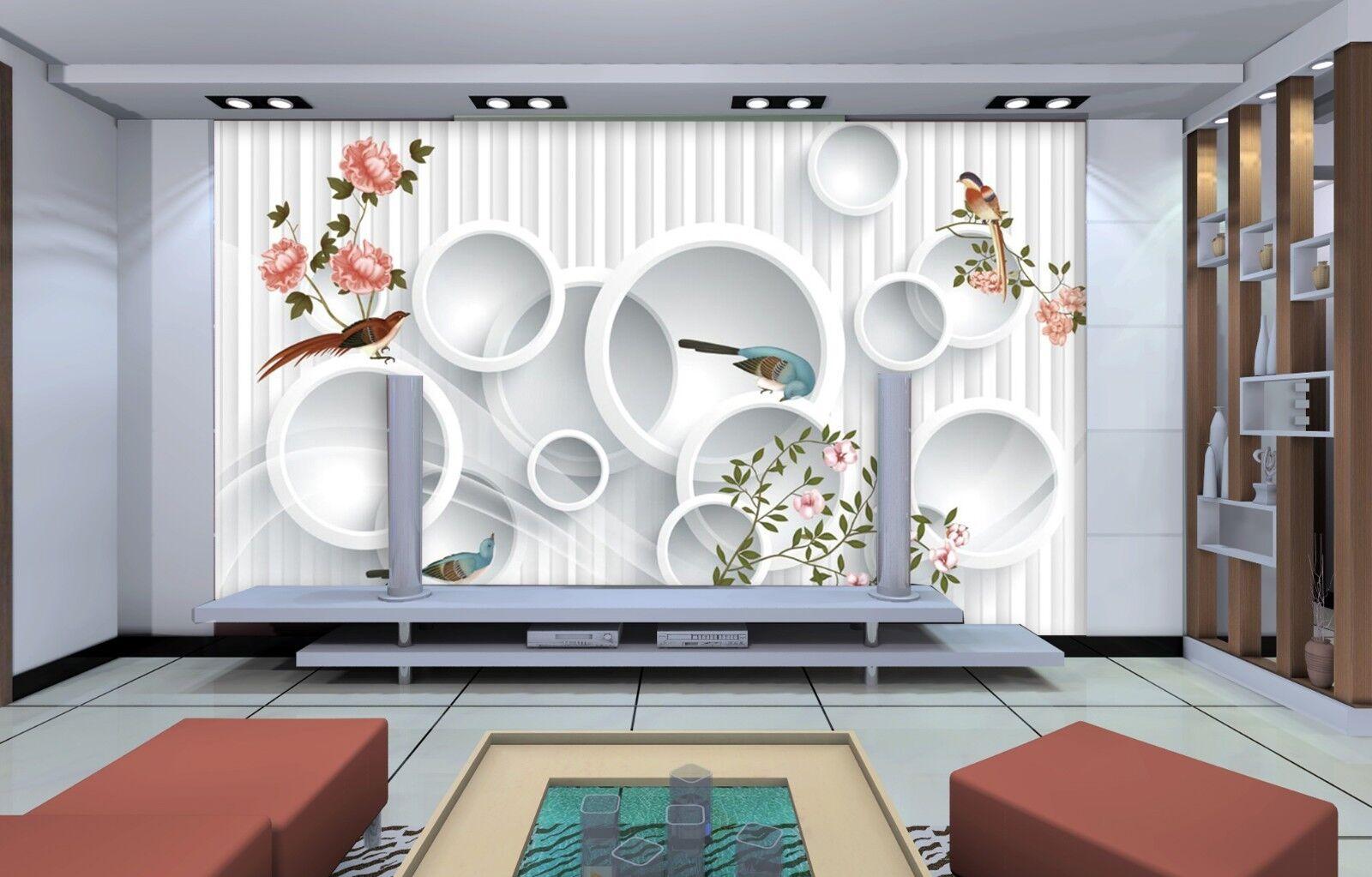 3D Ringe Blaumen Modern 7998 Tapete Wandgemälde Tapeten Bild Familie DE Jenny  | Verschiedene Stile und Stile  | Offizielle Webseite  | Spielzeug mit kindlichen Herzen herstellen