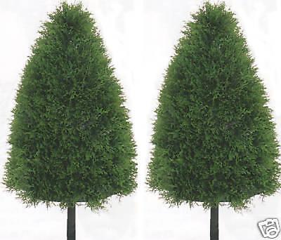 2 ARTIFICIAL CONE OUTDOOR CYPRESS TOPIARY TREE 3' PLANT BUSH ARRANGEMENT FLOWER