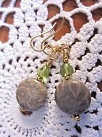 Earrings Artisan Handmade Usa Petoskey Stone Fossil Grey Olivine Gold Hooks