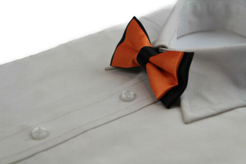 BOYS TWO TONE LAYER BOW TIE PRE-TIED KIDS SOLID BLUE RED BLACK WEDDING FORMAL