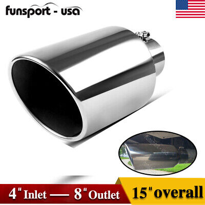 "TRANSPARENT CHROME PURPLE 4/"" INLET 8/"" OUTLET 15/"" LONG DIESEL EXHAUST TIP"