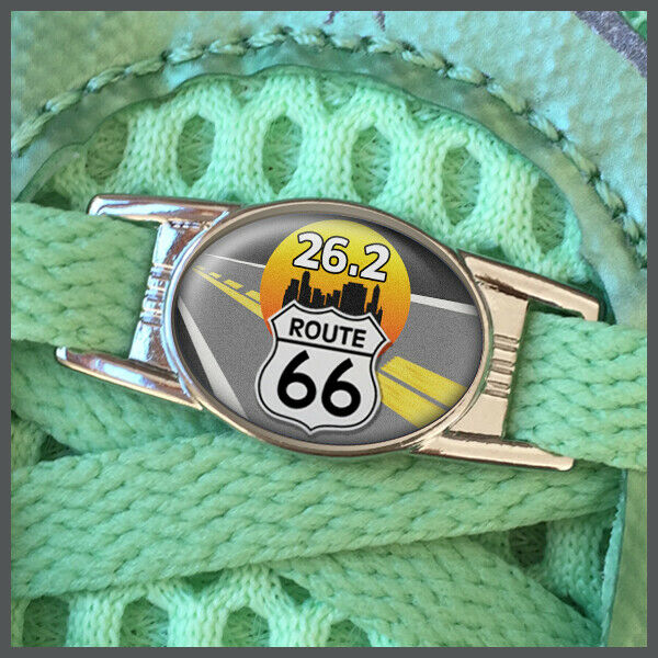 Route 66 26.2 Marathon Runners Shoelace Shoe Charm or Zipper Pull