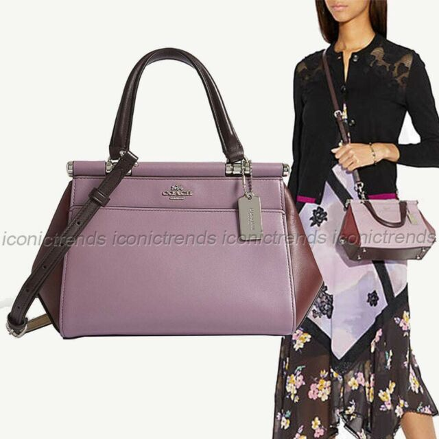 29db16a68cb63 NWT Coach 31919 Leather Grace 20 Colorblock Satchel Crossbody Purple Red  Jasmine