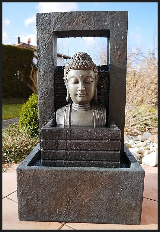 BUDDHA Brunnen Zimmerbrunnen   Wasserwand 74 cm ho. LED Licht modern NEU