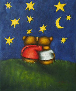 Gemaelde-Teddys-Sternenhimmel-handgemalt-Leinwand-Acryl-Malerei-Kinderzimmer