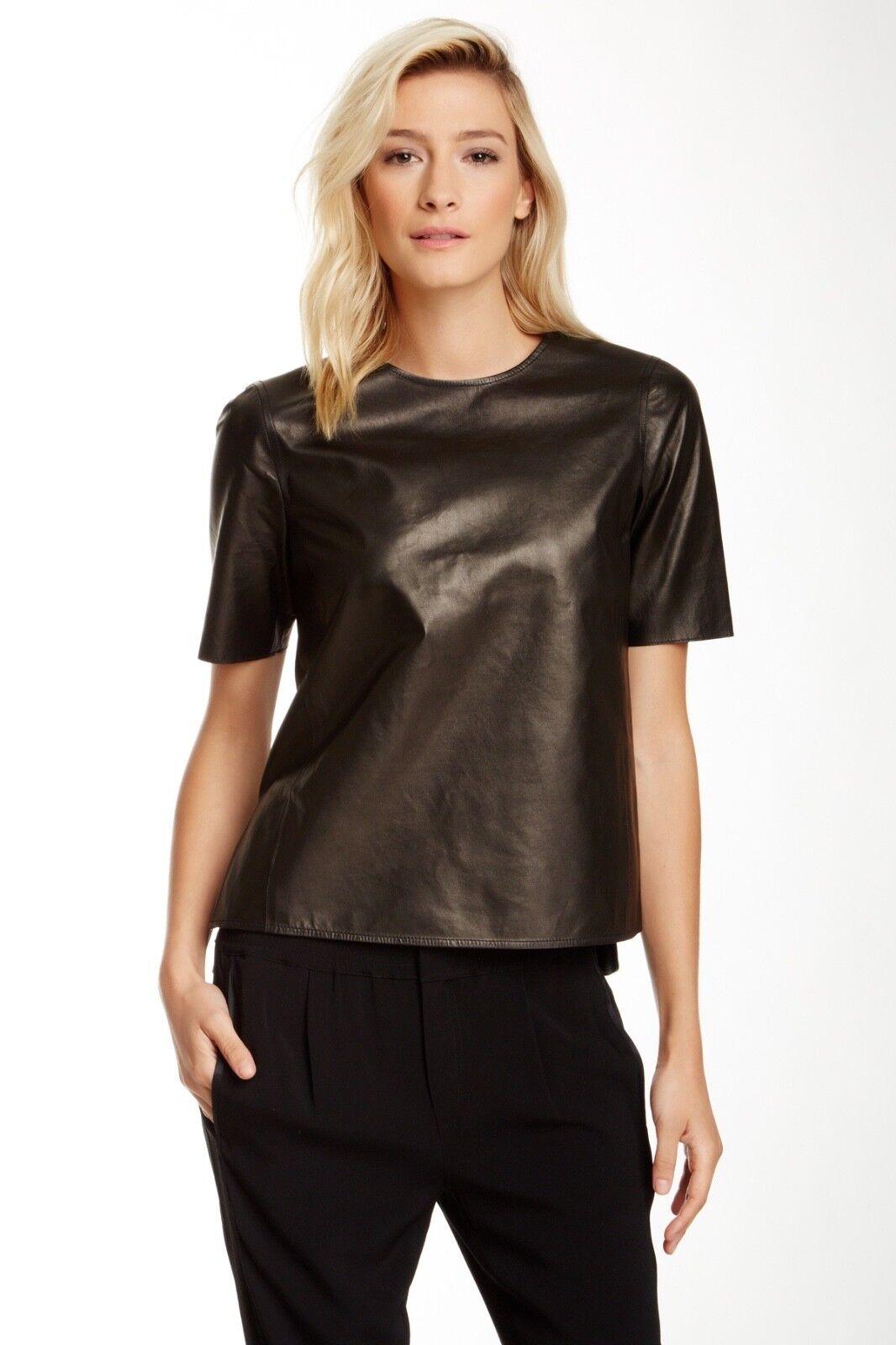 Vince schwarz Leather Short Sleeve Crew Neck T-Shirt Größe XS NEW