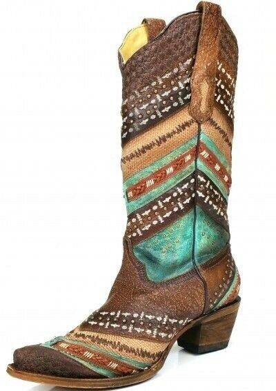 Corral Women's Embroidery Stud Leather Leather Leather Cowgirl Western Boots Turquoise A3381 edcfb7