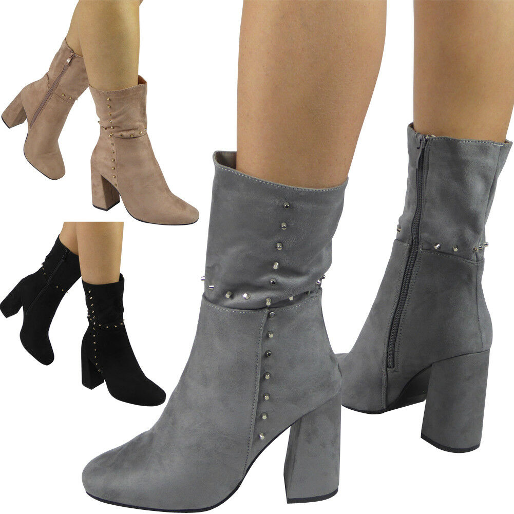 Womens Ladies Zip Faux Suede Studded High Heel Booties Ankle Boots Shoes Size