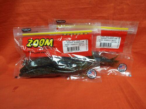 "ZOOM 7/"" Magnum Super Fluke #112-284 Green Pumpkin Magic 2 Packs 5 Cnt"