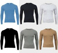MENS RIBBED COTTON TOP ROUND NECK LONG SLEEVE JERSEY T-SHIRT SIZES S M L XL