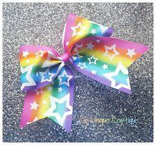 Rainbiw Ombre Glitter Stars Cheer Bow Cheerleading Dance Hair Bow
