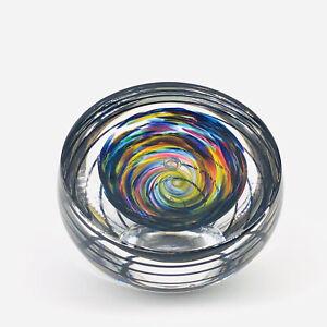Fire Island Art Glass Swirl Cut Design Paperweight Signed M. LaBarbera 1996