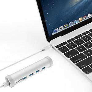 AUKEY-C21-USB-C-Hub-auf-USB-3-0-4-Port-Aluminum-fuer-new-macbook-ChromeBook